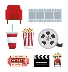 Set movie cinema symbol icons vector