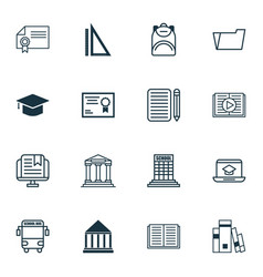 Set of 16 school icons includes home work vector