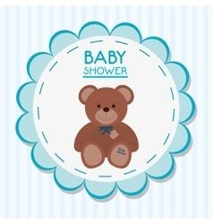 Teddy bear of baby shower card design vector image vector image
