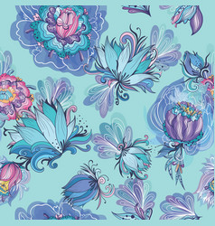 Turquoise floral lotus and peony pattern vector