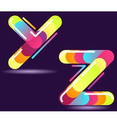 two letters of alphabet in disco style vector image