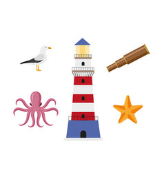 Vecotr flat cartoon nautical marine symbols set vector