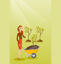 Woman pushing wheelbarrow with plant vector