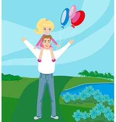 Father carrying daughter on his shoulders vector
