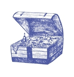 Treasure chest hand draw sketch vector