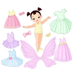 Baby girl with different fairy ballet and princes vector