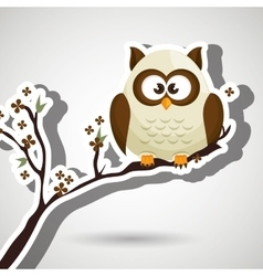 Owl white tree leaves white vector