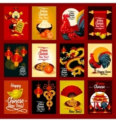 Chinese lunar new year greeting card set design vector