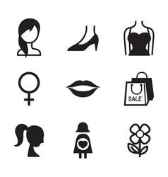 Woman symbol icon set vector