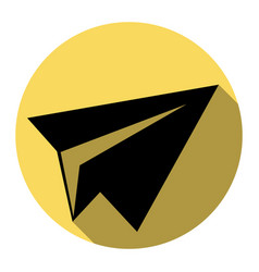 paper airplane sign flat black icon with vector image