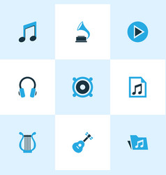 Audio colored icons set collection of guitar vector