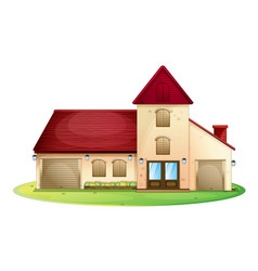 Big house with red roof vector
