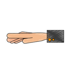 Color pencil of outstretched hand with sleeve vector