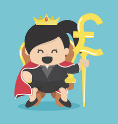 Queen of business with silver pound symbol vector