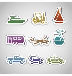 flat retro color stickers - set nine vector image