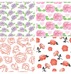 Set rose pattern vector