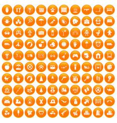 100 childhood icons set orange vector