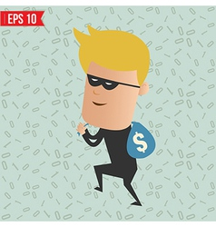 Thief steal money for computer security concept - vector image