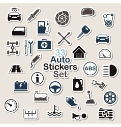 Set of auto icon stickers vector