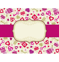 Beige valentines background with hearts and gifts vector