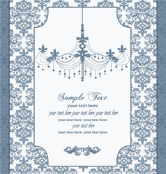 blue vintage damask invitation card vector image