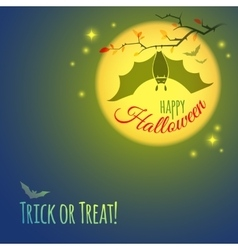 Halloween card with bat vampire vector