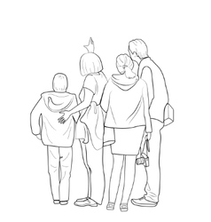 Sketch of people standing vector