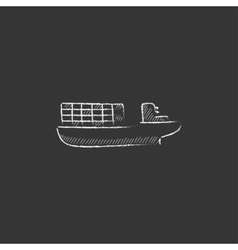 Cargo container ship drawn in chalk icon vector