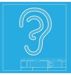 Human ear sign white section of icon on blueprint vector