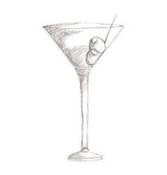 Martini with olives sketch icon vector