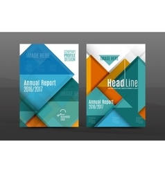 Squares and triangles annual report cover template vector