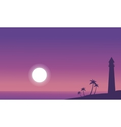 At night beach scenery with lighthouse vector