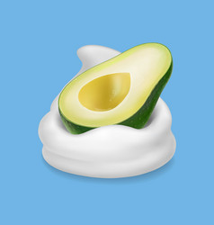 Avocado fruit in yogurt or milk 3d vector