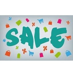 Big brush style sale with shopping icons vector image vector image