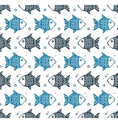 Blue grunge style fishes floating different vector