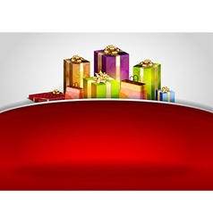 christmas background hill red vector image vector image