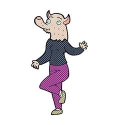 Comic cartoon dancing werewolf woman vector