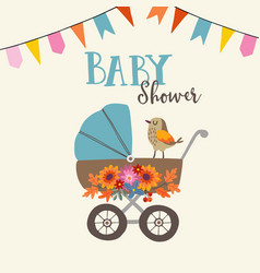 Cute baby shower invitation or birthday card with vector