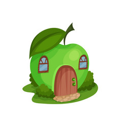 Cute fantasy house in form of ripe apple vector