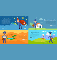 Delivery service cartoon web banners set vector
