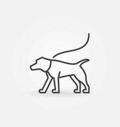 Dog on a leash minimal icon vector