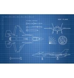 Drawing of military aircraft vector
