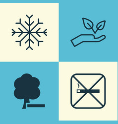 Eco-friendly icons set collection of delete woods vector