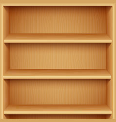 Empty wooden bookshelves vector