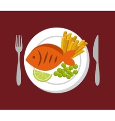 fish and vegetables icon vector image