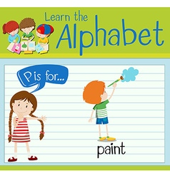 Flashcard alphabet p is for paint vector