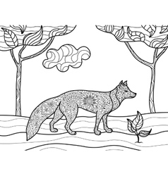 Fox coloring book for adults vector