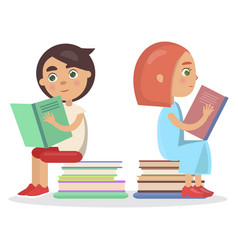 girl and boy with open textbook sit on books vector image