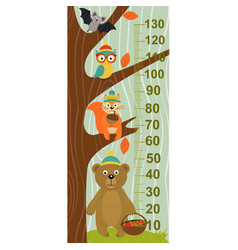 Growth measure tree with forest animal vector