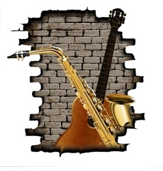 Guitar and saxophone in the opening wall vector